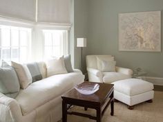love the white couches (would I dare?!)-looks like this dreamy couch I once sat on in Arhaus-and pale blue/gray/green walls. might look nice with some pale butter yellow accents