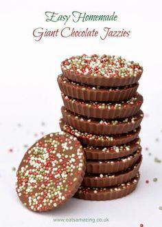 Really easy giant chocolate jazzies recipe - a great gift idea for kids to make this Christmas from Eats Amazing UK
