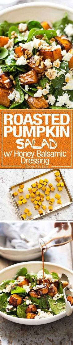 This Roast Pumpkin, Spinach and Feta Salad with a Honey Balsamic Dressing is a magical combination. Terrific side or as a meal. Vegetarian Recipes, Cooking Recipes, Healthy Recipes, Salad Recipes, Beef Recipes, Easy Recipes, Chicken Recipes, Vegetarian Salad, Healthy Oils
