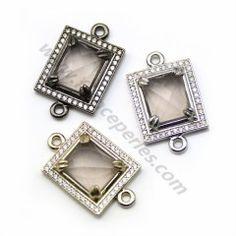 Intercalaire quartz fumé, sertie métal & zirconium, forme rectangulaire, 16*18mm x 1pc