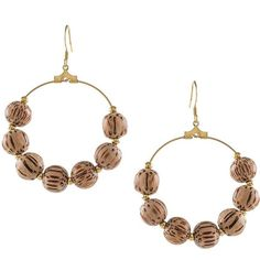 Kenneth Jay Lane Wood Bead Hoop Earrings - 1.5 In. (16 CAD) ❤ liked on Polyvore featuring jewelry, earrings, gold, hoop earrings, kenneth jay lane earrings, bohemian earrings, bohemian jewelry and boho style jewelry
