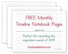 Free Monthly Timeline Notebook Pages {2014}