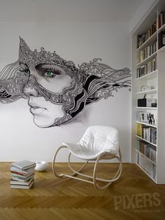 Green eyes wall mural --reminds me of my mom's drawings