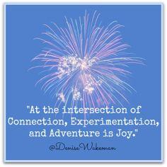 """At the intersection of Connection, Experimentation and Adventures is Joy."" ~Denise Wakeman  Read more: http://denisewakeman.com/your-service-business/entrepreneurial-success/  #adventure #entrepreneur #joy"