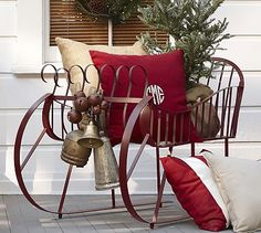 Red Metal Sleigh #potterybarn  totally want this for Christmas Minis....