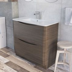 High Quality Erin Floor Mounted 900 Mm Vanity Unit Grey Elm With White Glass Basin   Bathroom  Vanity