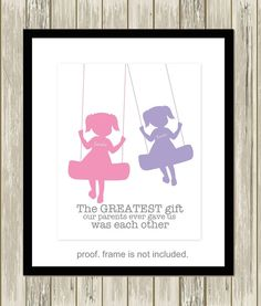 Twin girls wall art, twin sisters art, sisters room decor, siblings wall art, brother sister wall art, choose your colorers by PicabooArtStudio