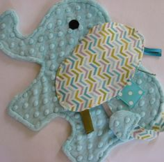 Arrow Aqua Elephant Sensory Security Blanket by IcingOnTheCupcake, $25.00