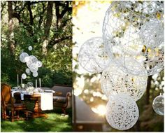 string chandelier, outdoor decor - use for a summer, spring or Easter dinner