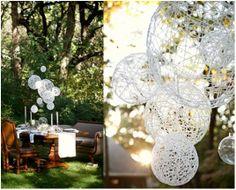 string chandelier, outdoor decor - use for a summer, spring or Easter dinner
