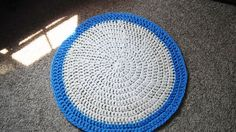 Whte and blue area rug throw rug crochet by CraftedCountryCorner