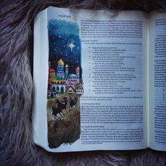 Bible journaling. Watercolours. Nativity. Christmas. Bible art. Bible doodle. Luke. Birth of Jesus.
