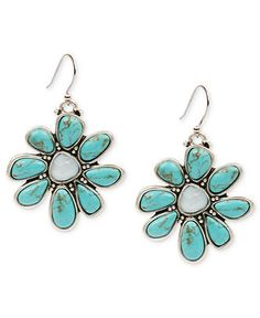 Lucky Brand Earrings, Silver-Tone Turquoise Stone Floral Drop Earrings - All Fashion Jewelry - Jewelry & Watches - Macys