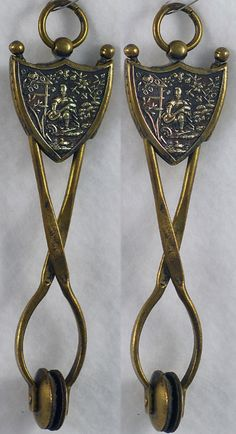 ONE OF A KIND! Brass, Shield Shaped, Skirt Lifter with Musician Playing Mandolin in Garden & Graceful Swan in the Water!