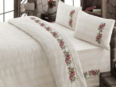 Items similar to Bedding Set Unbleached Cotton Buldan Linen Natural Organic , COTTON, Natural , RED flower embroidered bedding SET on Etsy Linen Bedding, Bedding Sets, Embroidered Bedding, Embroidered Flowers, Stitch Crochet, Crochet Bedspread, Cross Stitch Rose, Quilt Cover, Bedroom Inspo