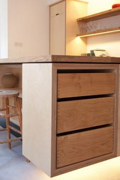 Industrial Kitchen Island Made Of 5omm Ply With Push To Open Drawers Solid Oak Worktop