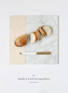 diy marble & wood serving platter