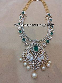 Diamond Necklace Diamond Emerald Haram with Swan Pendant photo Diamond Necklace Set, Emerald Necklace, Peacock Necklace, Diamond Jewelry, Diamond Choker, Pearl Diamond, Pearl Necklace, Uncut Diamond, Emerald Diamond
