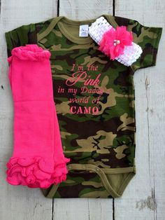 I'm the Pink in My Daddy's World of CAMO by BumbleBeEmbroidery