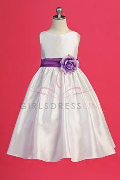 Eggplant Flowers and Sash Flower Girl Dress K204E $55.95 on www.GirlsDressLine.Com