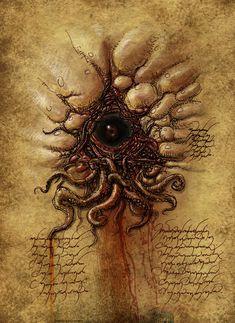 Esoteric Eye, by François Launet Necronomicon Lovecraft, Lovecraft Cthulhu, Hp Lovecraft, Arte Horror, Horror Art, Dark Fantasy Art, Dark Art, Le Kraken, Cthulhu Art