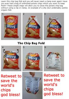 How to properly fold a bag of potato chips