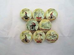 Set of 8 Vintage French Bicycle Cabinet Knobs Bicycle Print, Vintage Bicycles, Cabinet Knobs, Wood Print, French Vintage, Decoupage, Decorative Plates, Handmade Gifts, Pattern