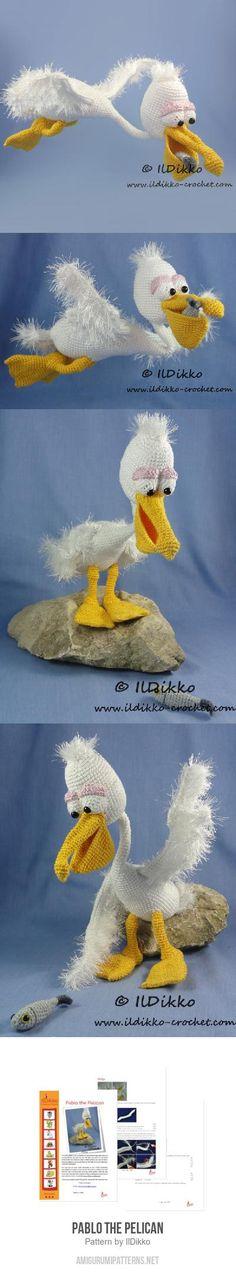 Pablo The Pelican Amigurumi Pattern for purchase