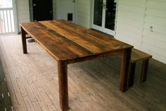 """9' x 46"""" wide plank hemlock table with bench"""