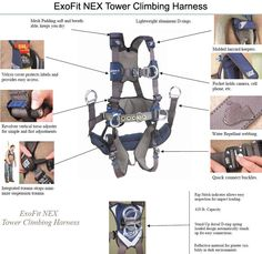 DBI ExoFit NEX Tower Climbing Harness. Tower Climber, Climbing Harness, Body Systems, Camera Phone, Gears, Safety, Accessories, Security Guard, Gear Train