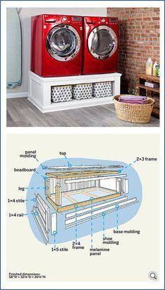This is such a cool idea to add storage in your laundry room while being conscious of space... A bigger shelf below would be grate to slide laundry baskets in.