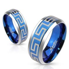 Laser Etched Maze Blue IP Center Stainless Steel Band Ring with Beveled Edge-WildKlass Jewelry