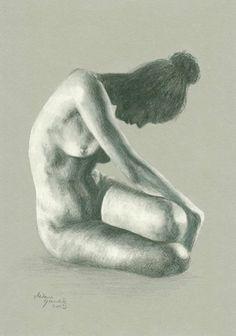 ORIGINAL DRAWING Female nude 7 by Milena Gawlik  by MilenaGawlik