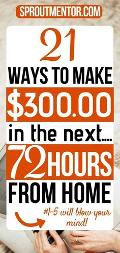 Do you want to make money fast in the next 24 to 72 hours? Here are 21 ways to make money fast and free without paying anything while working from home. - Earn Money at home Make Money Fast Online, Earn Money Fast, Quick Money, Earn Money From Home, Way To Make Money, Fast Cash, Extra Cash, Extra Money, Work From Home Jobs