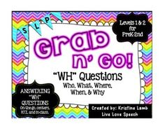 "This pack is perfect for students working on answering ""WH"" questions including WHO, WHAT, WHERE, WHEN, and WHY as well as expanding utterances and labeling nouns/actions. Each set of ""WH"" question cards can be used for on-the-go therapy, centers, RTI, and in-class therapy sessions."