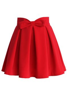Sweet Your Heart Bowknot Pleated Skirt in Ruby - Retro, Indie and Unique Fashion