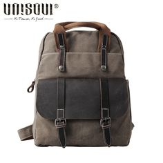 57.68$  Watch now - http://ali4ne.worldwells.pw/go.php?t=32655550983 - UNISOUL Canvas Backpack New 2016 Fashion Vintage men's backpacks schoolbag travel bags High Quality Men original Backpack  tide