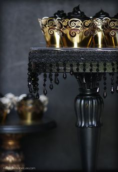 A few easy steps to transform a thrift store candlestick into a Black Cake Stand full of gothic glamour with jet black beaded fringe. Beautiful for a dessert buffet, as a display stand, or even for an elegant Halloween Party. Black Cake Stand, Gold Cake Stand, Cupcake Stands, Victorian Cupcakes, Valentines Day Massacre, Simple Closet, Just Cakes, Gorgeous Cakes, Diy Cake