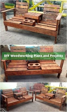 50 Creative Wood Pallet DIY Ideas Check out the delightful shine of this useful wood pallet chair idea shown below. It is impressively designed with t. Pallet Furniture Designs, Pallet Patio Furniture, Furniture Projects, Diy Furniture, Outdoor Lounge Furniture, Furniture Online, Pallet Chairs, Furniture Repair, Outdoor Sofa