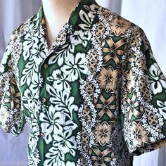 Vintage Floral Tapa Hibiscus Plumeria XL Hawaiian Shirt Evergreen Island Leis