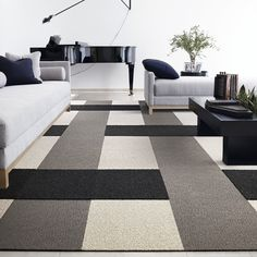 love the pattern great way to keep your colors neutral but still create a visually basement carpetcarpet designcarpet tilestile designgood ideasinterior - Carpet Tile Design Ideas