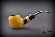 HAND MADE WOODEN TOBACCO SMOKING PIPE  no 40  Yellow   + Filter