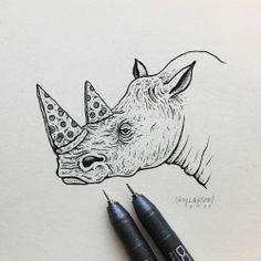 LIL PIZZA RHINO #PizzaOrDeath #rhino #art #illustration