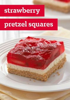 Strawberry Pretzel Squares -- This classic summer dessert recipe features a crunchy pretzel crust, a creamy center and a fresh strawberry and JELL-O Strawberry Flavor Gelatin topping.
