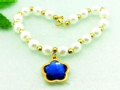 2017 Kalen Cheap women accessories plastic pearl bracelet stainless steel  gold blue plastic flower charm bracelets for girls