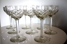 Crystal Champagne glasses set of 8 vintage by CosasDeEuropa, $50.00