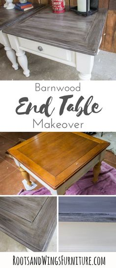 Transform end tables from and orange pine finish to barnwood beautiful! How to paint farmhouse style furniture is all right here. Tutorial by Jenni of Roots and Wings Furniture. #rootsandwingsfurniture #farmhouse #endtables #furniture #makeover #painted #stain #barnwood #fauxfinish