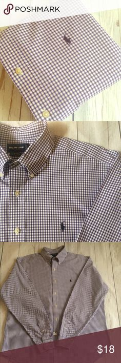 """Polo•Ralph•Lauren•M/L•Shirt•LSU🎈2/$40🎈 🎈bundle special: 2 for $40🎈men's  long sleeve button front 100% cotton oxford shirt•XL CLASSIC FIT per tag•Running small•Signature pony at chest•no fraying• LSU embroidery at cuff, as pictured• Chest: 26.5"""" Length: 31"""" Sleeve: 36"""" Shoulder: 20"""" Polo by Ralph Lauren Shirts Casual Button Down Shirts"""