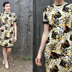Vintage Silky Baroque Cocktail Dress 80s diamond pattern gold rope detail. Trimmed with black. Fitted and fully-lined. Made beautifully. Zips along back. Size 8/10. Vintage Dresses Midi