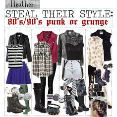 80's/90's Punk or Grunge by the first outfit with the goddess braid hair style